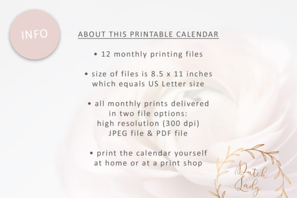 Print on Demand: Printable Monthly Calendar 2020 Florals Graphic Print Templates By daphnepopuliers - Image 7