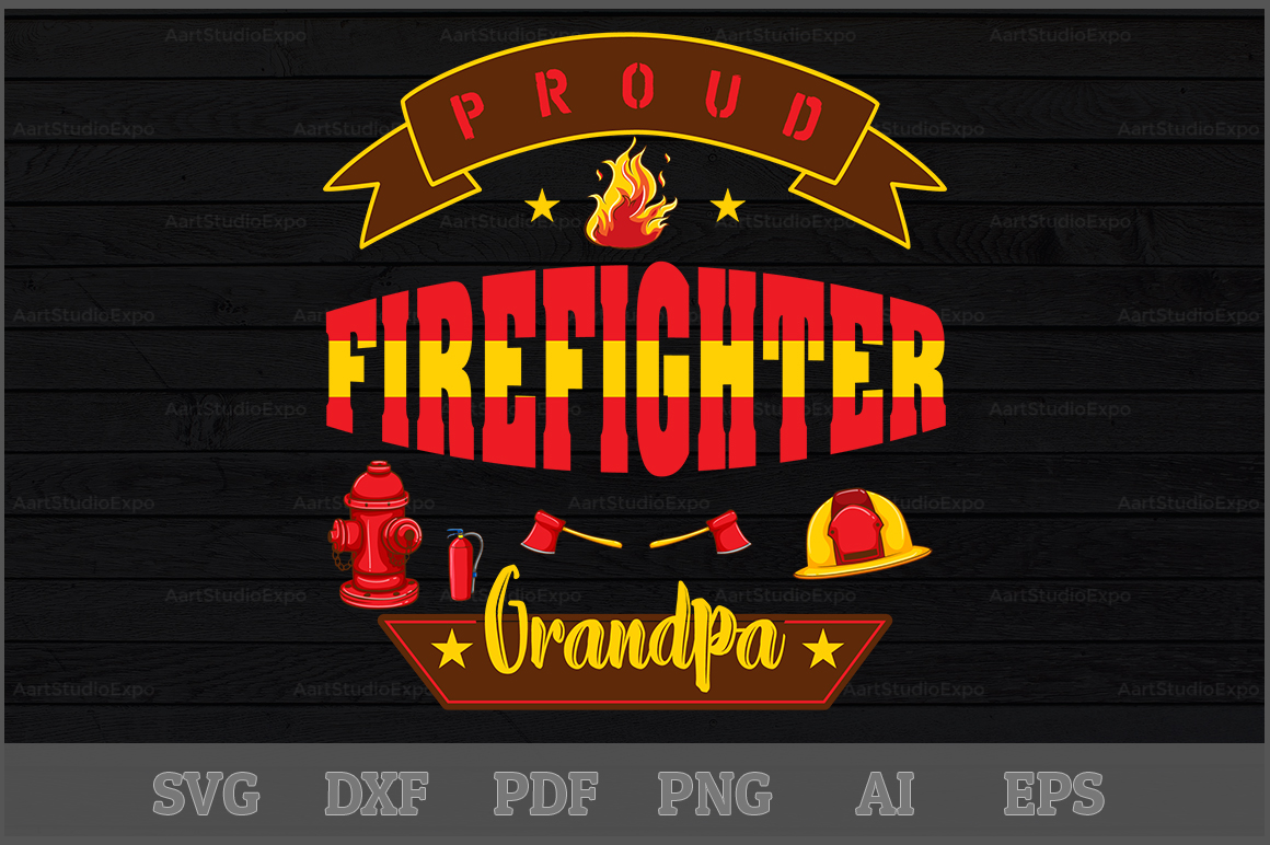 Download Free Proud Firefighter Grandpa Svg Design Graphic By Aartstudioexpo for Cricut Explore, Silhouette and other cutting machines.