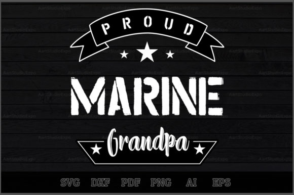 Download Free Proud Marine Grandpa Svg Design Graphic By Aartstudioexpo for Cricut Explore, Silhouette and other cutting machines.