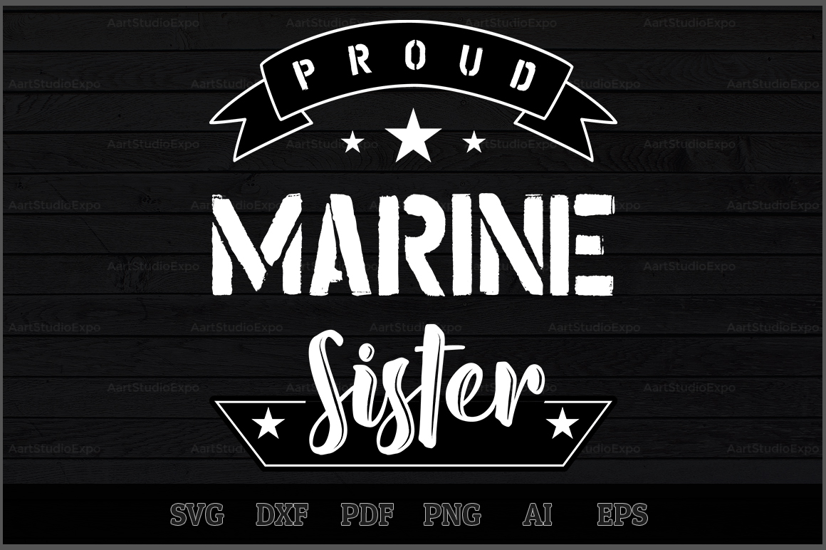 Download Free Proud Marine Sister Svg Design Graphic By Aartstudioexpo for Cricut Explore, Silhouette and other cutting machines.