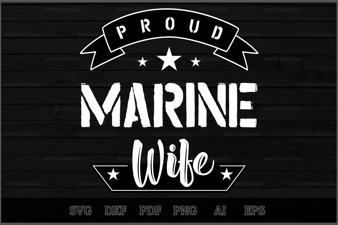 Download Free Proud Marine Wife Svg Design Graphic By Aartstudioexpo for Cricut Explore, Silhouette and other cutting machines.