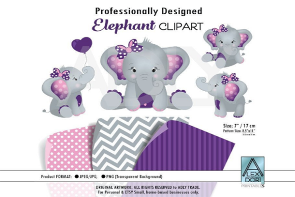 Print on Demand: Purple Elephant Girl Clip Art + Patterns Graphic Print Templates By adlydigital