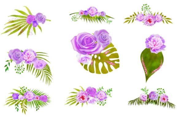 Purple Floral Arrangements Clipart