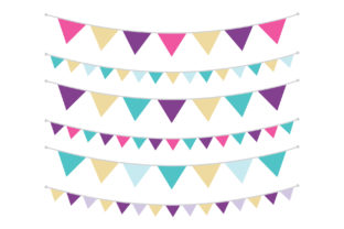 Print on Demand: Purple Gold and Teal Triangle Banners Graphic Objects By Running With Foxes