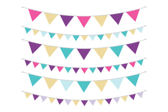 Purple Gold and Teal Triangle Banners Graphic By Running With Foxes