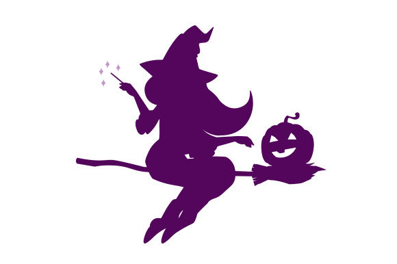 Purple Witch Flying on Broom Designs & Drawings Craft Cut File By Creative Fabrica Crafts