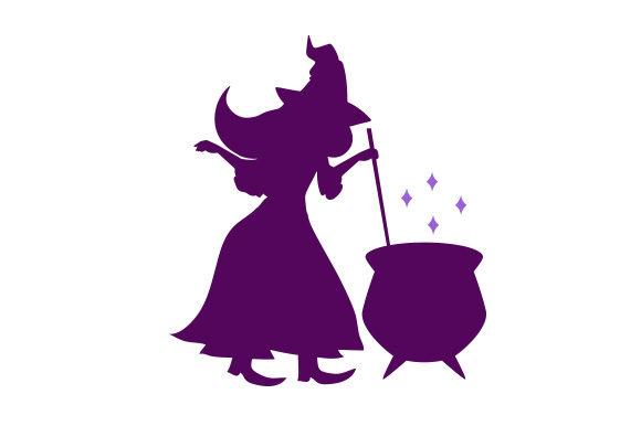 Download Free Purple Witch Stirring Cauldron Svg Cut File By Creative Fabrica for Cricut Explore, Silhouette and other cutting machines.