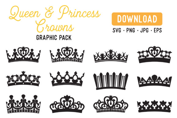 Print on Demand: Queen Crowns Princess Crowns Graphic Illustrations By The Gradient Fox