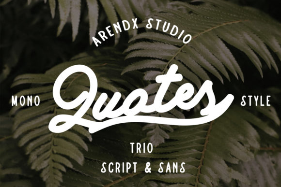 Print on Demand: Quotes Trio Script & Handwritten Font By Arendxstudio