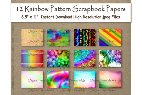 Print on Demand: Rainbow Digital Paper 11 Graphic Backgrounds By DigitalPrintableMe - Image 1