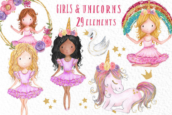 Download Free Rainbow Unicorn Clipart Girls Clipart Graphic By Vivastarkids SVG Cut Files