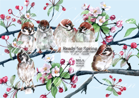 Ready for Spring Watercolor Clip Art Graphic Illustrations By MilaWorldDesing