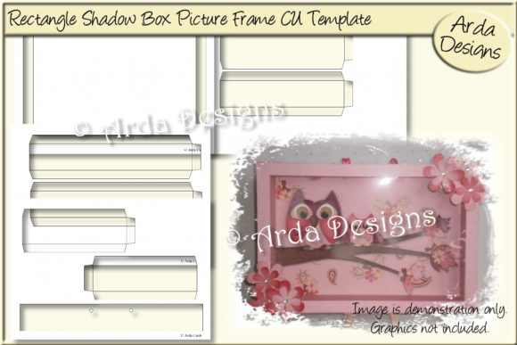 Print on Demand: Rectangle Shadow Box Frame CU Template Graphic Print Templates By Arda Designs
