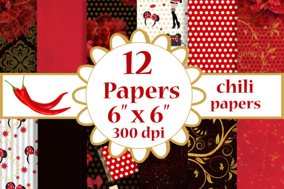 Red Paper Pack, Floral Background Graphic Crafts By ChiliPapers