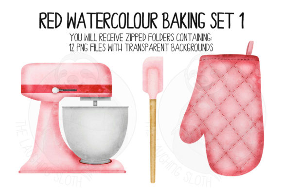 Red Watercolour Baking Set 1 Graphic Illustrations By The_Laughing_Sloth_Digital - Image 2