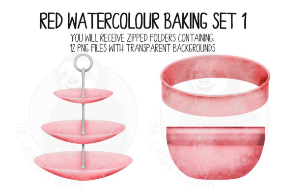 Red Watercolour Baking Set 1 Graphic Illustrations By The_Laughing_Sloth_Digital - Image 3