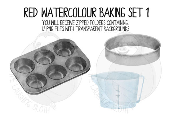 Red Watercolour Baking Set 1 Graphic Illustrations By The_Laughing_Sloth_Digital - Image 4