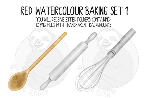 Red Watercolour Baking Set 1 Graphic Illustrations By The_Laughing_Sloth_Digital - Image 5
