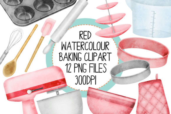 Red Watercolour Baking Set 1 Graphic Illustrations By The_Laughing_Sloth_Digital