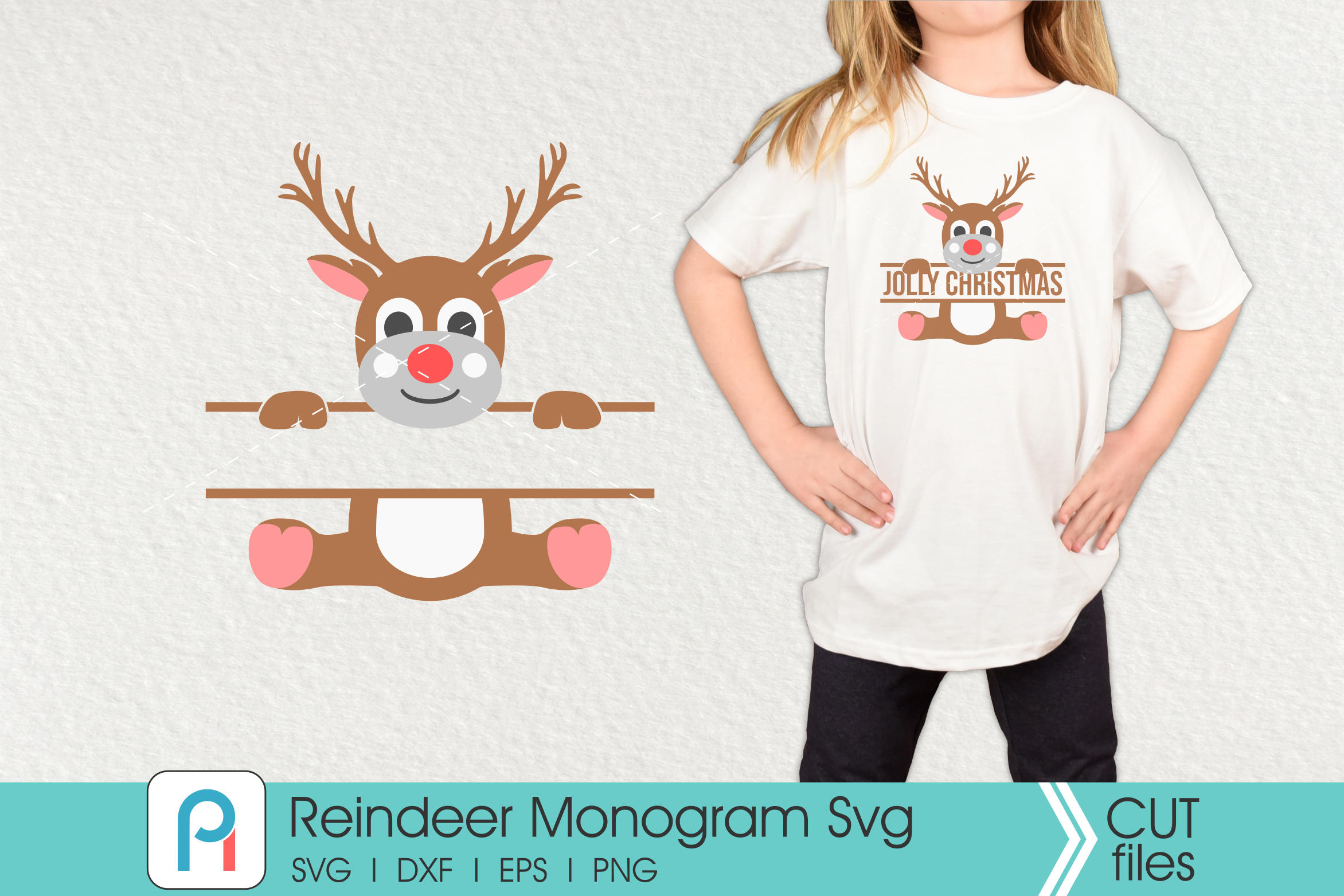 Download Free Reindeer Monogram Graphic By Pinoyartkreatib Creative Fabrica for Cricut Explore, Silhouette and other cutting machines.
