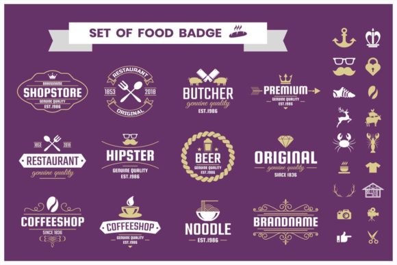 Download Free Vintage Logo Creation Kit Graphic By Toonsteb Creative Fabrica for Cricut Explore, Silhouette and other cutting machines.