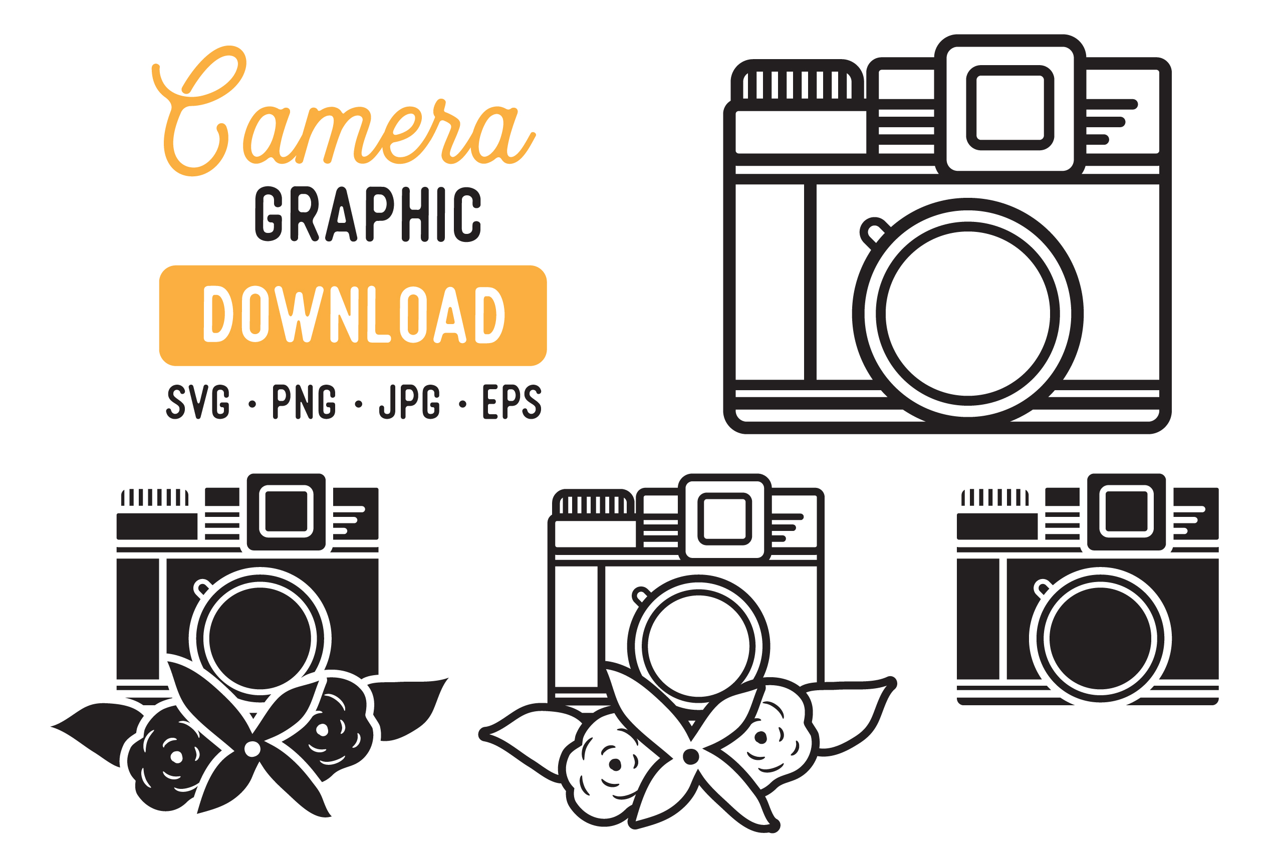 Download Free Retro Camera Vector Clipart Pack Graphic By The Gradient Fox for Cricut Explore, Silhouette and other cutting machines.