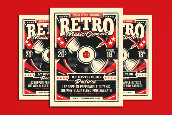 Retro Music Concert Graphic Print Templates By muhamadiqbalhidayat