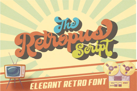 Print on Demand: Retropus Script Script & Handwritten Font By Muhammad Ersya