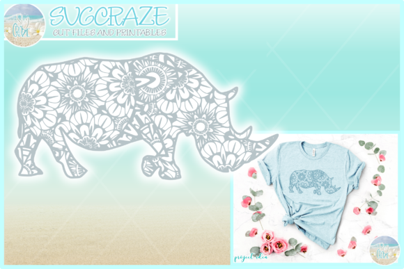 Download Free Rhino Mandala Zentangle Svg Graphic By Harbor Grace Designs for Cricut Explore, Silhouette and other cutting machines.