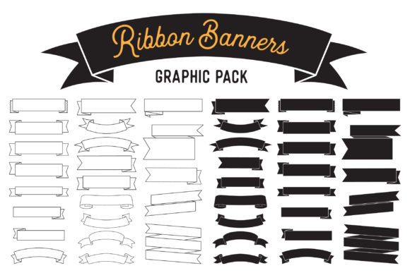 Download Free Ribbon Banner Clipart Vector Design Pack Graphic By The Gradient for Cricut Explore, Silhouette and other cutting machines.