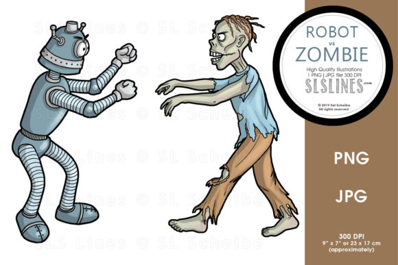 Print on Demand: Robot Vs. Zombie Graphic Illustrations By SLS Lines