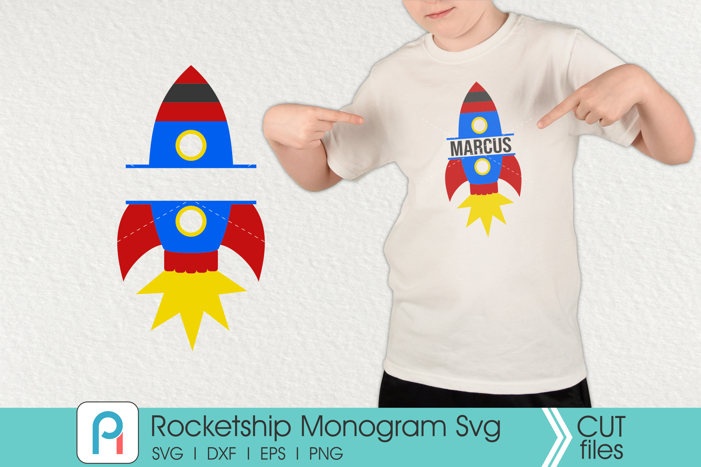 Download Free Rocketship Monogram Graphic By Pinoyartkreatib Creative Fabrica for Cricut Explore, Silhouette and other cutting machines.