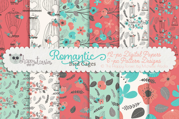 Print on Demand: Romantic Bird Cages Seamless Patterns Graphic Patterns By Michelle Alzola