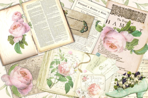 Romantic Roses Backgrounds and Clipart Graphic By The Paper Princess Image 2