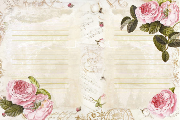 Romantic Roses Backgrounds and Clipart Graphic By The Paper Princess Image 5