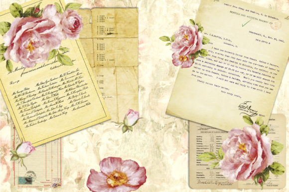 Print on Demand: Romantic Roses Backgrounds and Clipart Graphic Backgrounds By The Paper Princess - Image 6
