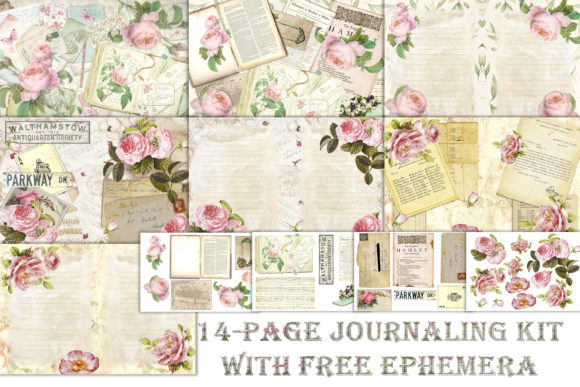 Romantic Roses Backgrounds and Clipart Graphic By The Paper Princess Image 1