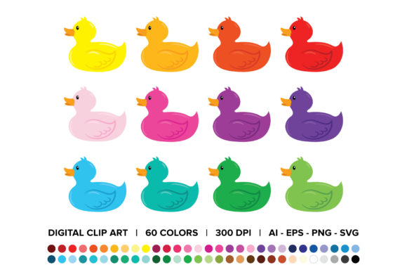 Print on Demand: Rubber Duck Clip Art Set Graphic Objects By Running With Foxes