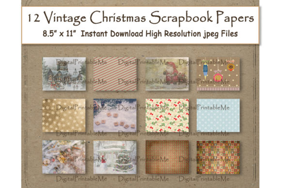 Rustic Christmas Digital Paper 8.5