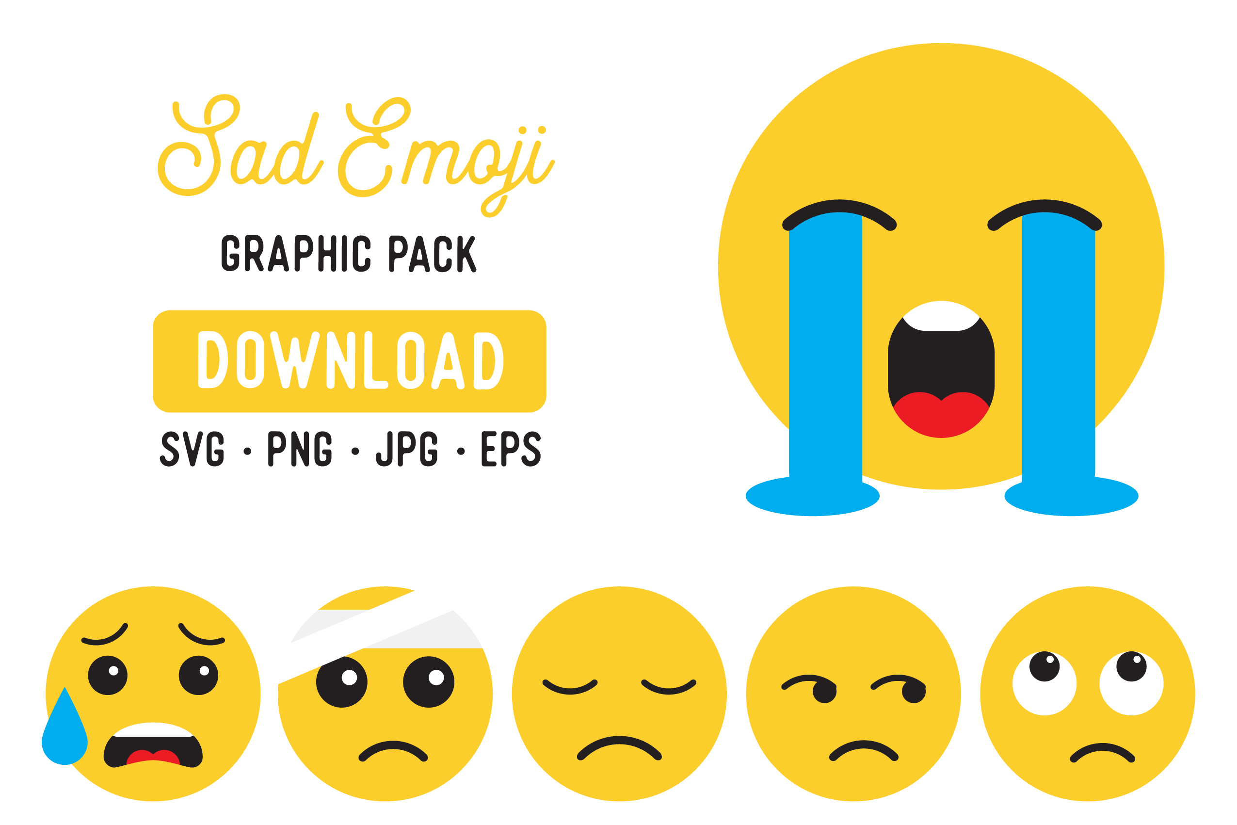 Download Free Sad Emoji Digital Clipart Pack Graphic By The Gradient Fox for Cricut Explore, Silhouette and other cutting machines.