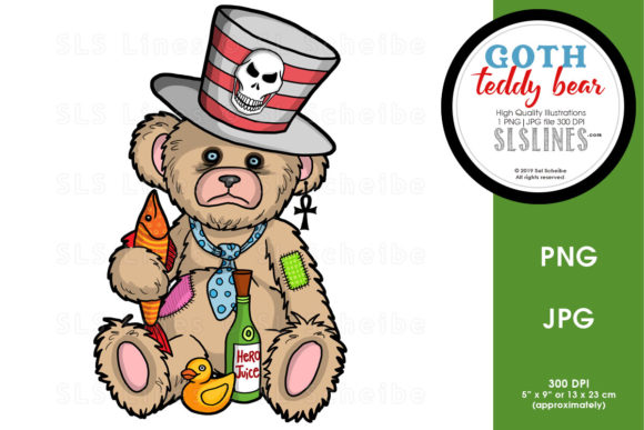 Print on Demand: Sad Gothic Teddy Bear Graphic Illustrations By SLS Lines