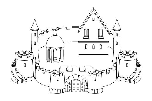 Sandcastle Line Art Coloring Page