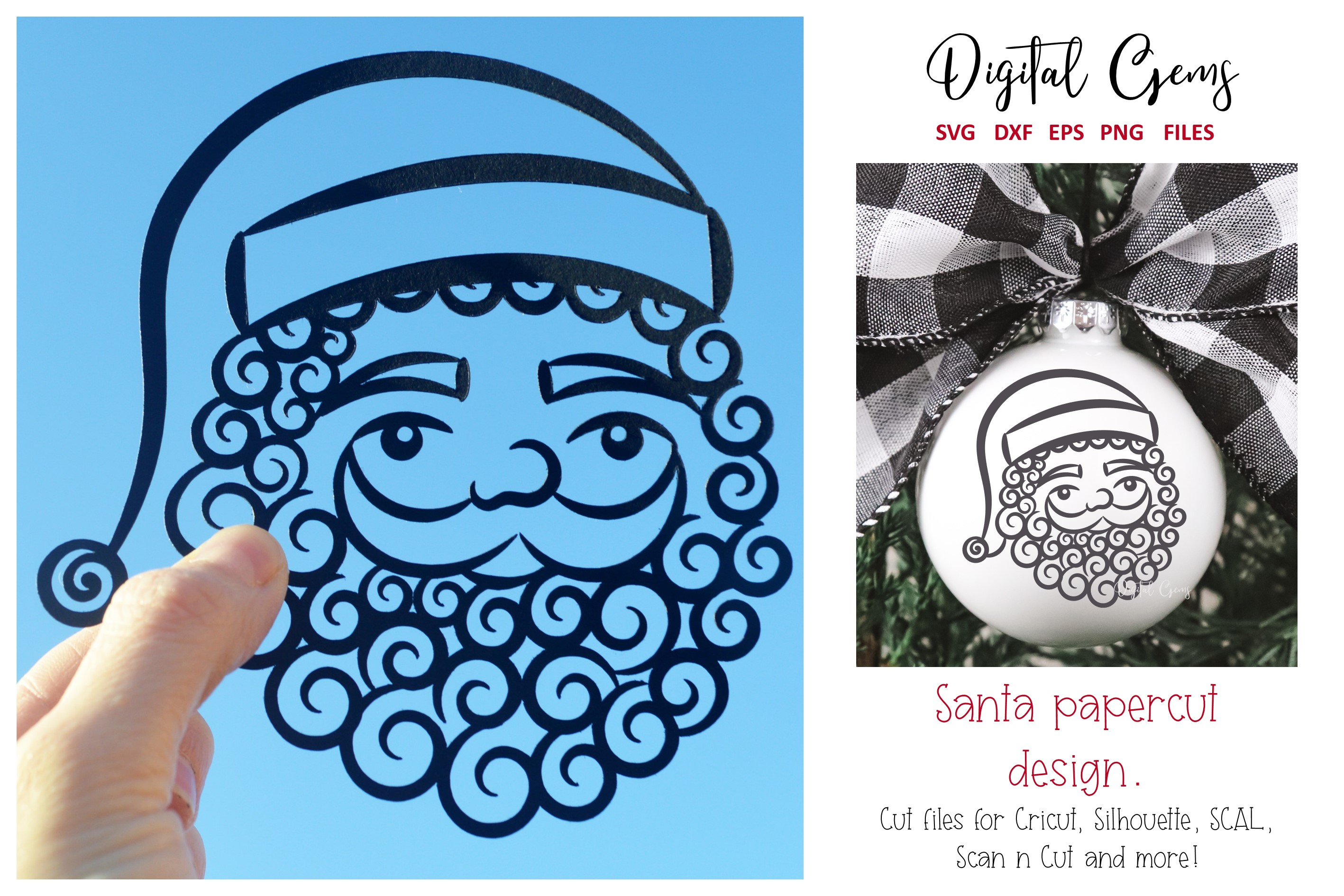 Download Free Santa Papercut Design Graphic By Digital Gems Creative Fabrica for Cricut Explore, Silhouette and other cutting machines.