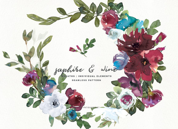 Sapphire & Wine Watercolor Clipart Set Graphic Illustrations By Patishop Art - Image 1