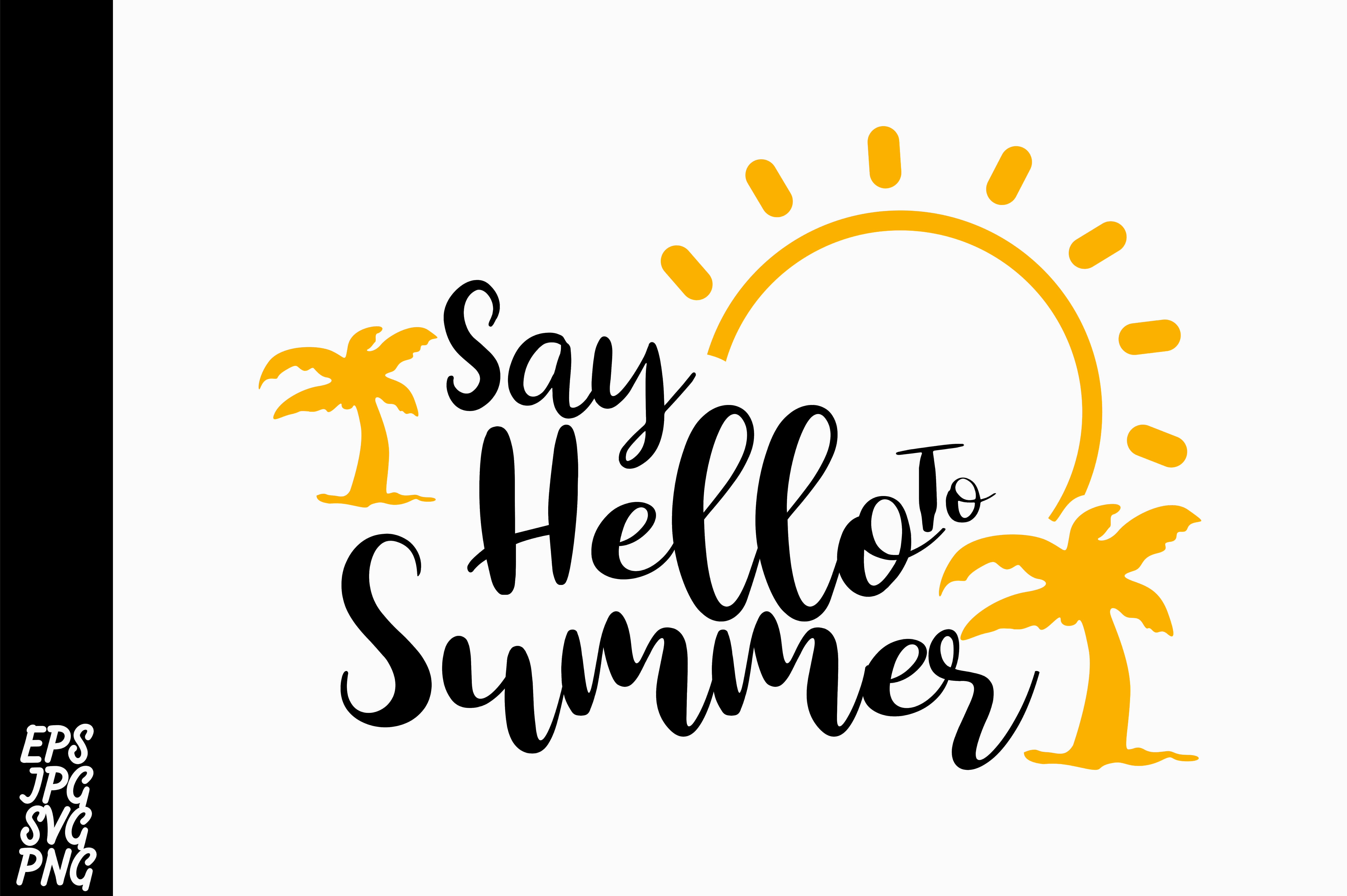 Download Free Say Hello To Summer Graphic By Arsa Adjie Creative Fabrica for Cricut Explore, Silhouette and other cutting machines.