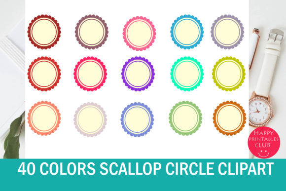 Print on Demand: Scallop Circle Clipart-Colorful Scallop Graphic Illustrations By Happy Printables Club