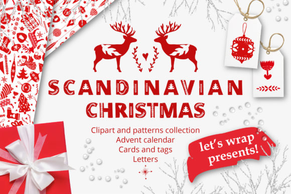 Print on Demand: Scandinavian Christmas in Red Graphic Patterns By KatiaZhe