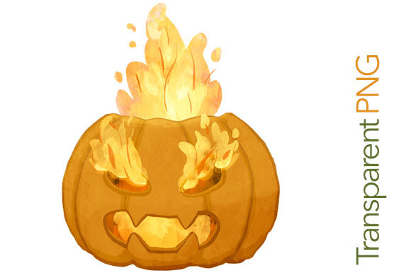 Download Free Scary Pumpkin On Fire Halloween Clipart Grafico Por Milaski for Cricut Explore, Silhouette and other cutting machines.