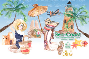 Sea-Coast Watercolor Clip Art Graphic Illustrations By MilaWorldDesing