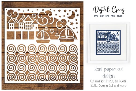 Sea Scene / Boat Paper Cut Design Graphic By Digital Gems